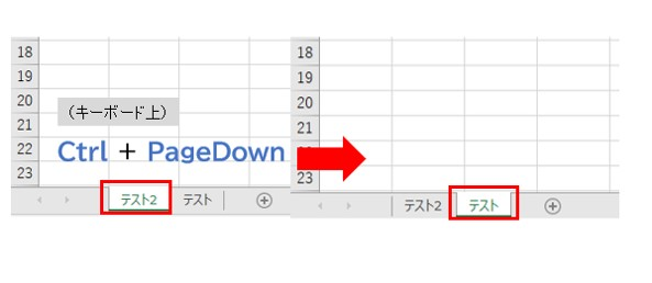 Excel シートのタブを移動する(違うページを開く)ショートカットキー3